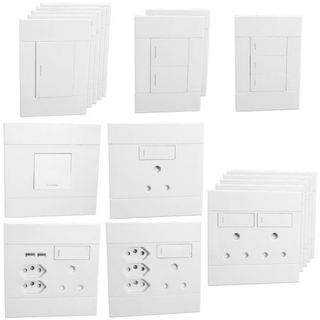 Veti 2 Switch and Socket Combo - White